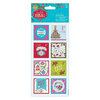 SALE Folk Christmas (Docrafts) - Tear Off Sentiments Toppers Linen (16 pieces)