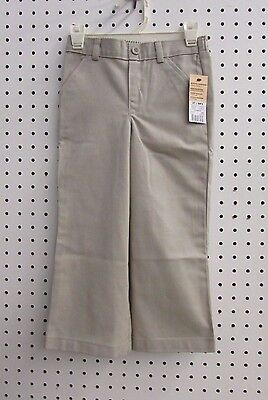 George Toddlers School Uniform Flat Front Pant (Size 3T, NWT, Warm Beige)