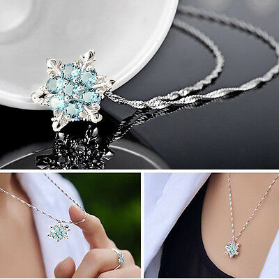 Charm lady Blue Crystal Snowflake Frozen Flower Silver Necklace Pendant t