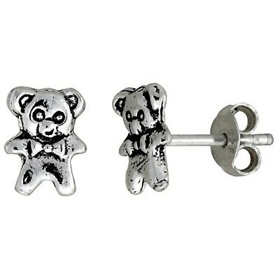 5/16 inch Small Teddy Bear Stud Real 925 Sterling Silver Earrings Post Push Back