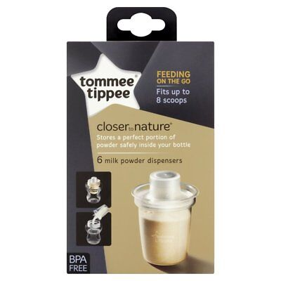 Tommee Tippee Closer to Nature Milk Storage Powder Dispensers 6-Pack 150ml 260ml