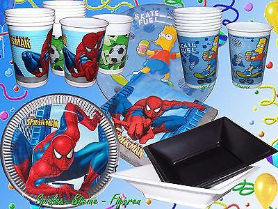 Spiderman The Simpsons Disney Cars Star Wars Party Set Papp Plate Cup Dish