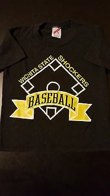 Vintage 80s 90s Wichita State Shockers Baseball Childrens Youth Small T-Shirt