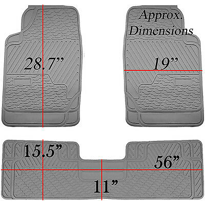 3pcs Gray Heavy Duty All Weather Rubber Floor Mats Universal Car Truck SUV