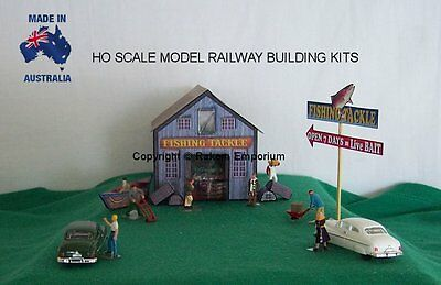 HO Scale Fishing Tackle Shed with Boats Model Railway Building Kit - FTS1