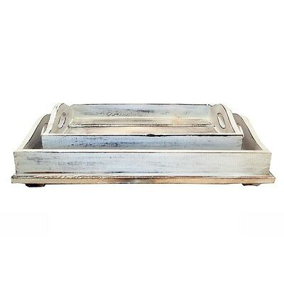 Set of 2 White Rustic Vintage Serving Tray Wooden with Handles Trays Decor Gift