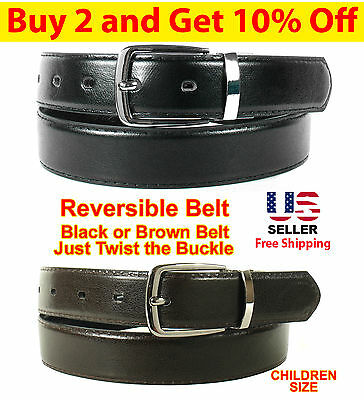 KIDS CHILDREN BLACK BROWN REVERSIBLE LEATHER BELT w BELT BUCKLE - 2 BELTS IN ONE
