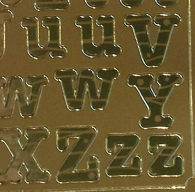 Gold Alphabet 14mm Peel Off Stickers Craft  Upper Lower Case Letters 241G