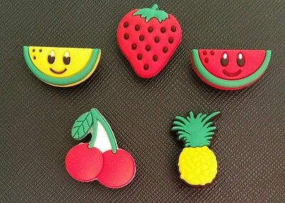 5 x Fruits Croc Shoe Charms Crocs Jibbitz Wristbands Strawberry Melon Pineapple
