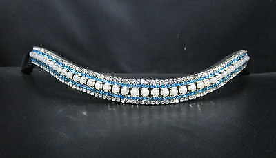 BLING!*Dressage*Mega-Sparkly Leather Browband*5-Row Crystals*PEARL/AQUA*3 Sizes