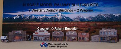 N Scale Buildings Country/Western Set & Wagons Model Railway Building Kit NWCB