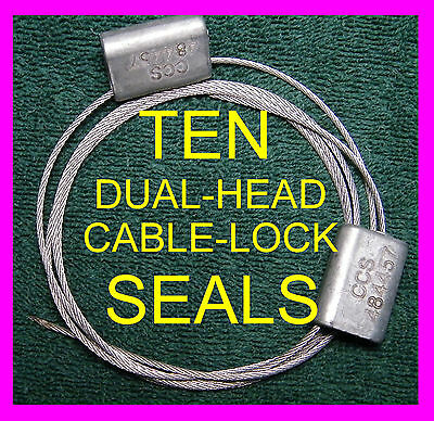 Dual-Head, 50-Inch Long Cable-Lock Security Seals, Ten Seals, Hard To Find Seal