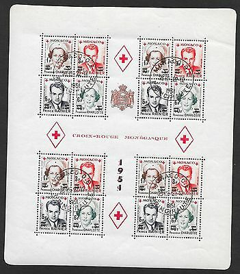 Monaco stamps 1951 YV Bloc 4A  RED CROSS  CANC  VF