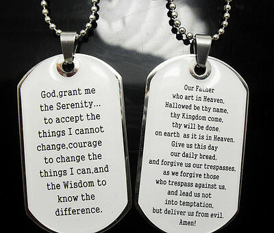 wholesale 20 serenity lord's prayer necklace dog tag necklace pendants chains
