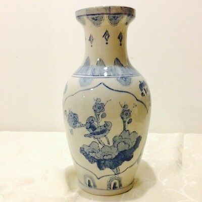 "Blue and White Ming Style Bird Chinese Vase 12"" tall"