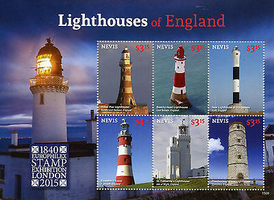 Nevis 2015 MNH Lighthouses of England Europhilex 6v M/S Roker Pier Lighthouse
