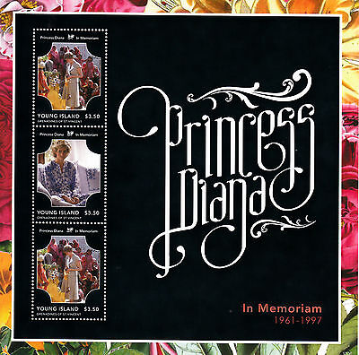 Young Island Grenadines St Vincent 2013 MNH Princess Diana In Memoriam 3v M/S