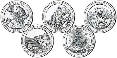 2012 P&D STATE PARK 10 QUARTER SET El Yunque Chaco Culture Acadia Hawaii Denali