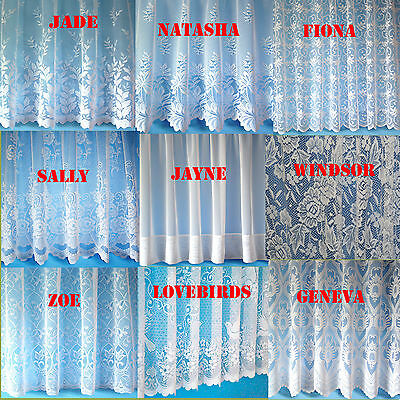 Scalloped/Straight bottomed cheap Jaquard Lace White Net Curtain  - FREE POSTAGE