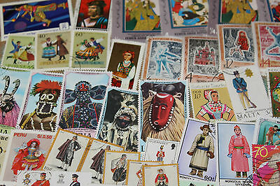 Bulk Lot Costumes,dress,uniforms Themed Stamps X 50  Good Mix Free Postage In Oz