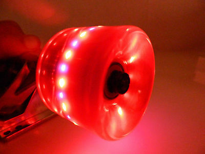 Longboard Cruiser 70mm x 51mm LED Light Up Red  Wheels