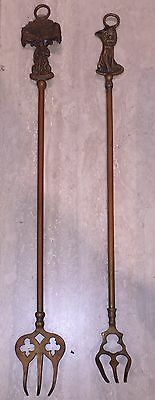 2 Antique Brass Hearth / Fireplace Toasting Forks With Dog & Smuggler Figure's