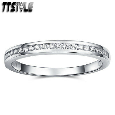 TTstyle RHODIUM 925 Sterling Silver 2.5mm Inlaid Sparkling CZ Wedding Band Ring