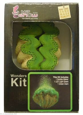 Underwater Aquarium Green Clam + Green Led  & Air Bubble Maker Complete Kit