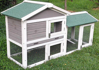Rabbit Hutch Guinea Pig Hutches Run Large 2 Tier Double Decker Cage Grey