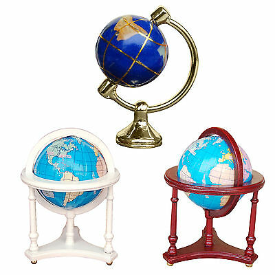 1:12 Dollhouse Miniature Mini Rotatable Globe with Wood Stand Doll House Decor