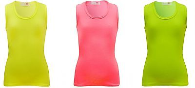 New Girls Quality Kids Bright Vest Pink Green Yellow Summer Top T Shirt Age 7-13