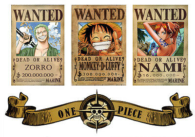 Poster A4 Plastifie-Laminated(1 Free/1 Gratuit)*manga One Piece.logo & Wanted.