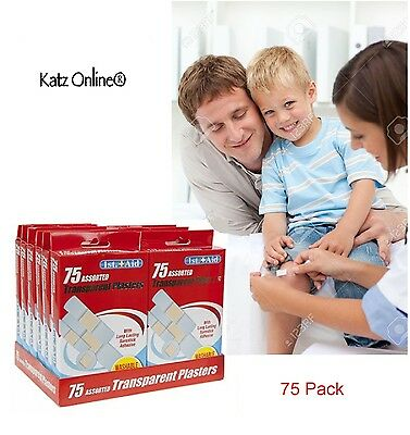75 x Pack Transparent Plasters Waterproof Kid Adults First Aid Assorted Sizes