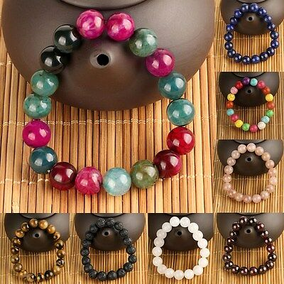 Fashion Women Men 10mm Round Natural Stone Beads or Plastic Bead Bracelet Gifts