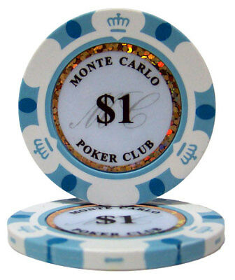 50 White $1 Monte Carlo 14g Clay Poker Chips New - Buy 2, Get 1 Free
