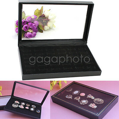 Clear Plastic Lid Case 36 Slots Rings Storage Jewelry Holder Box Case Black Hot