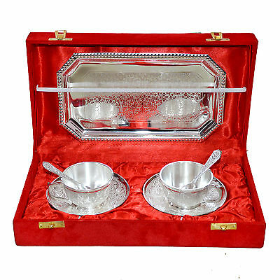 Marusthali New Antique Silver Plated Cup Plate Tea Set of 7 Pcs With Box packing