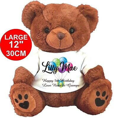 "Personalised Teddy Bear Brown 30Cm/12""  Birthday Flower Girl Any Occasion Gifts"