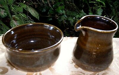 Handcrafted MONTVILLE Australian GLAZED POTTERY Jug & Sugar Bowl Duo VG Collect.