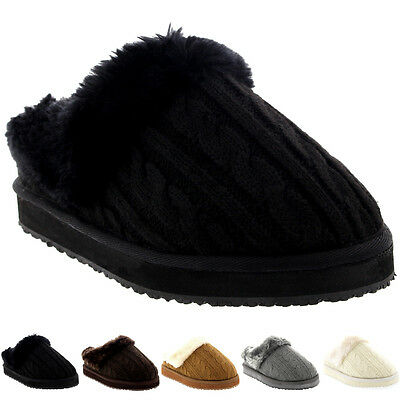 Womens Knitted Cardy Classic Fur Lined Warm Slip On Winter House Slippers 3-10