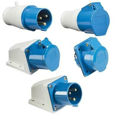 BLUE 240V 32 AMP 3 PIN INDUSTRIAL SITE PLUG or SOCKETS IP44  2P+E MALE/FEMALE