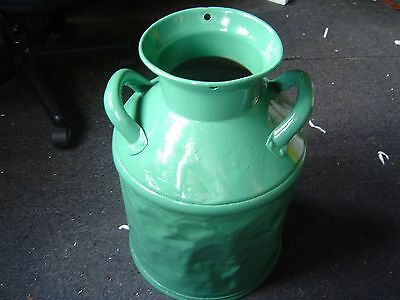 old antique green painted metal milk can yard lawn & garden has dents    tag S