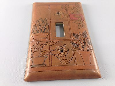 Leather Covered Light-Switch Plate Cover with Potted Plant Design ~ Ships FREE!