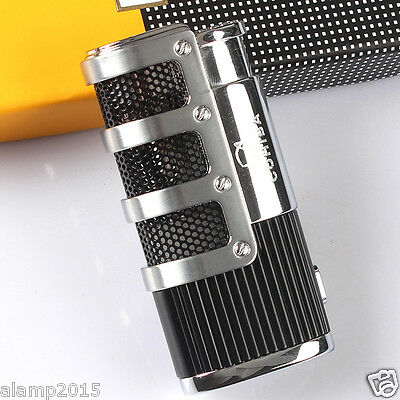 Cohiba Black Metal Wind-Proof 3 Torch Jet Flame Cigar Cigarette Lighter W/ Punch