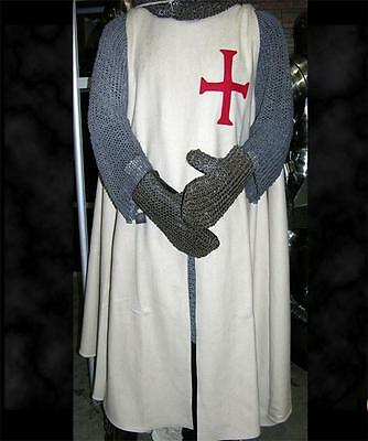 MEDIEVAL KNIGHT Crusader TEMPLAR TUNIC SURCOAT with RED CROSS Natural Off-White