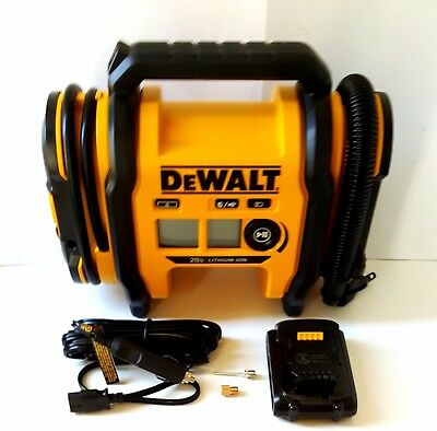 DEWALT 20V MAX HYBRID Corded/Cordless Air Inflator W/Battery,Adapters Sealed