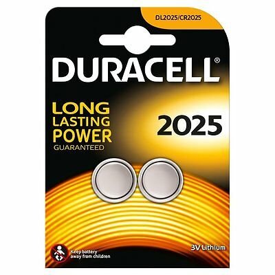 2 X Duracell CR2025 2025 3V Lithium Coin Cell Batteries DL2025 TWIN PACK