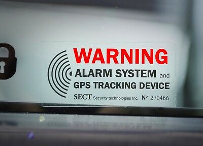 4 CAR ALARM SECURITY WINDOW STICKER DECAL GPS Tracking Device Anti Theft Warning