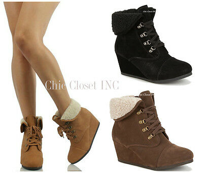 b1de2ea1970 Women High Heel Wedge Booties Cuffed Ankle Lace Up Combat Fleece Winter  Boots