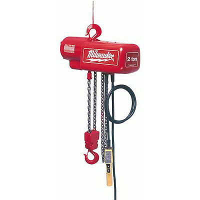 Milwaukee 1 Ton Electric Chain Hoist with 20' Lift Height 9568 New